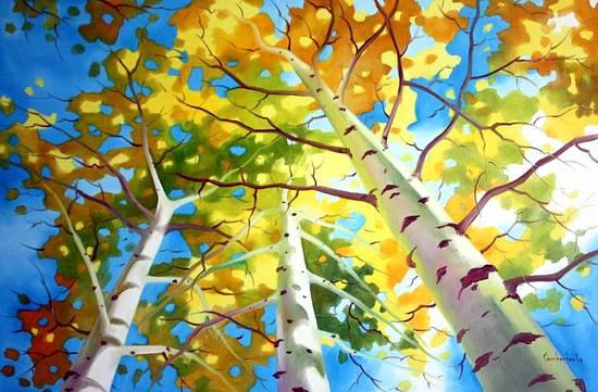 Wedding - BIRCH TREES SKY - Art Print from Original Oil Painting, Abstract, Nature, Modern Wall Art