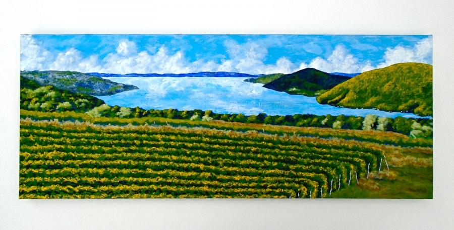 "Wedding - Canandaigua Lake (ORIGINAL ACRYLIC PAINTING) 16"" x 40"" by Mike Kraus"