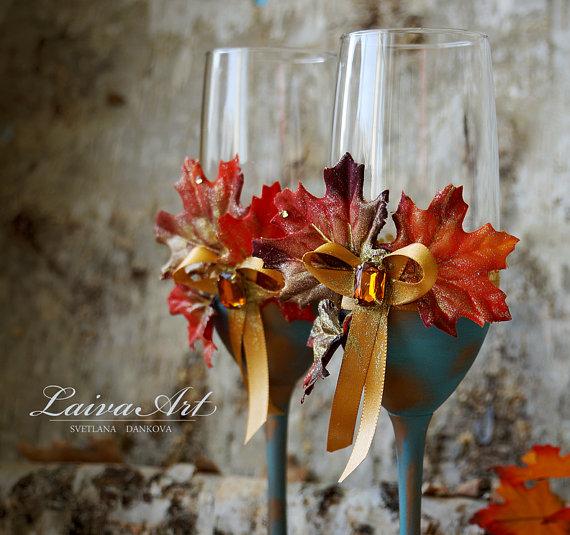 Wedding - Fall Wedding Champagne Flutes Fall Wedding Toasting Flutes Fall Wedding Glasses Thanksgiving wedding