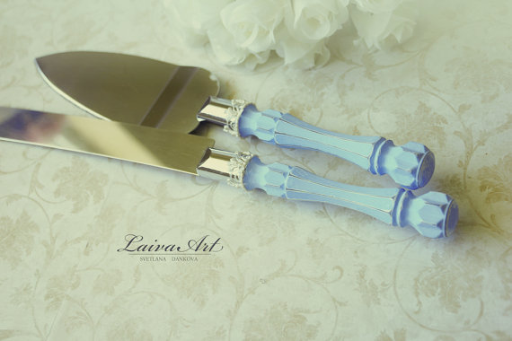 زفاف - Blue Wedding Cake Server Set & Knife Cake Cutting Set Wedding Cake Knife Set Wedding Cake Servers Wedding Cake Cutter Cake Decoration