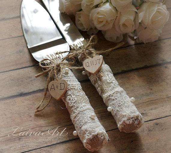 Mariage - Rustic Wedding Cake Server Set & Knife Rustic Wedding Cake Server Country Wedding Burlap Wedding