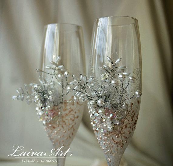 Wedding - Wedding Champagne Flutes Wedding Champagne Glasses White Wedding Decoration