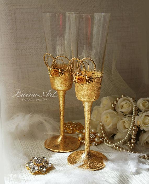Wedding - Gold Wedding Champagne Flutes Wedding Champagne Glasses Gatsby Style