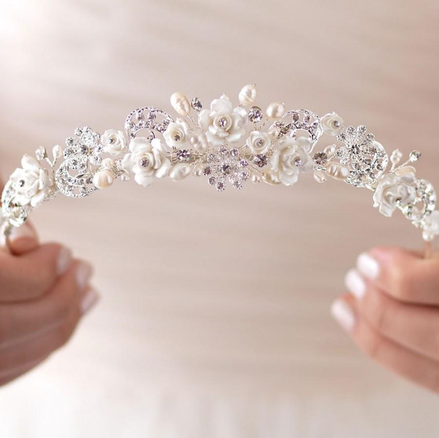 Rhinestone Pearl Wedding Tiara Bridal Hair Accessory Pearl