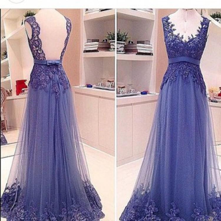 زفاف - Classic A-Line Sweetheart Sweep Train Tulle Backless Purple Evening/Prom Dress With Appliques
