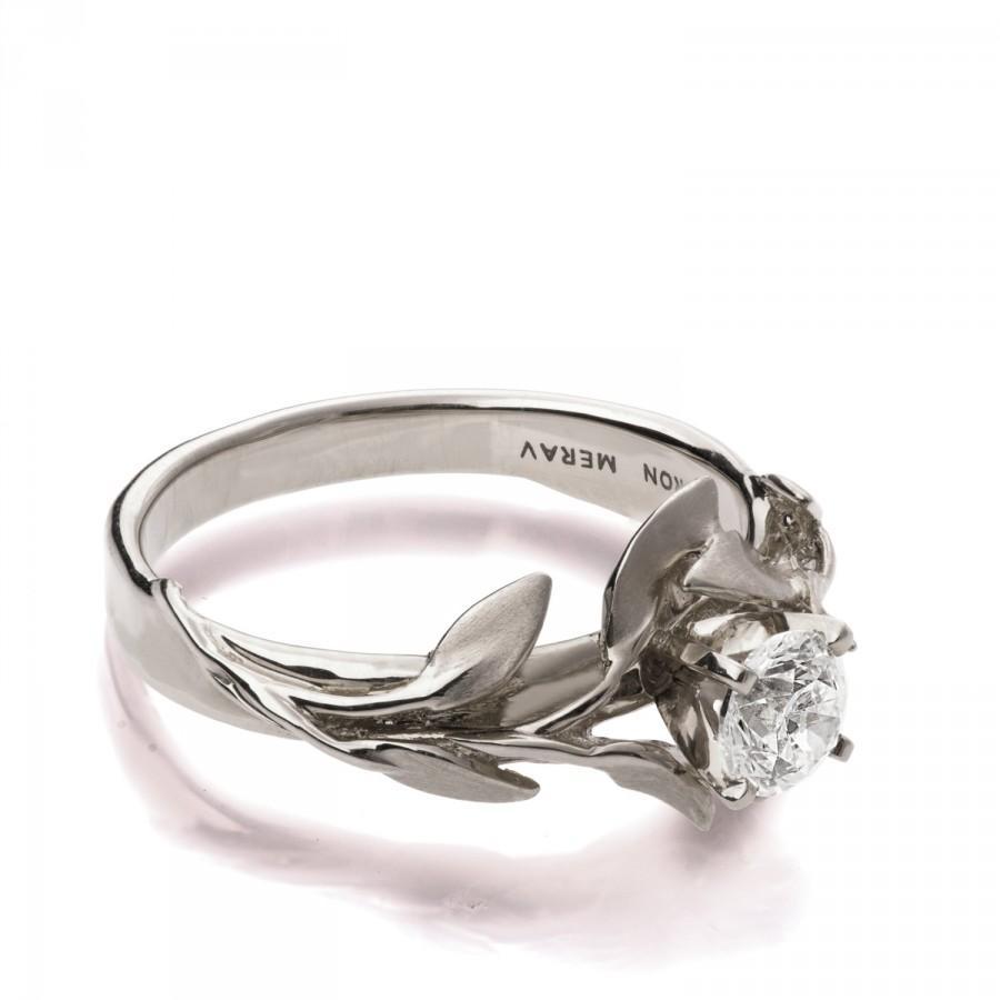 Game Wedding Rings | Leaves Engagement Ring 4 18k White Gold Moissanite Engagement Ring
