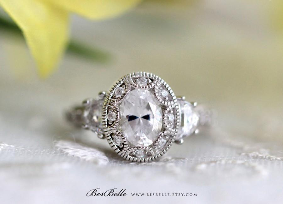 Hochzeit - Art Deco Engagement Ring-Oval Cut Diamond Simulant-Vintage Ring-2.25 ctw Art Deco Ring-Bridal Ring-Promise Ring-Solid Sterling Silver [3950]