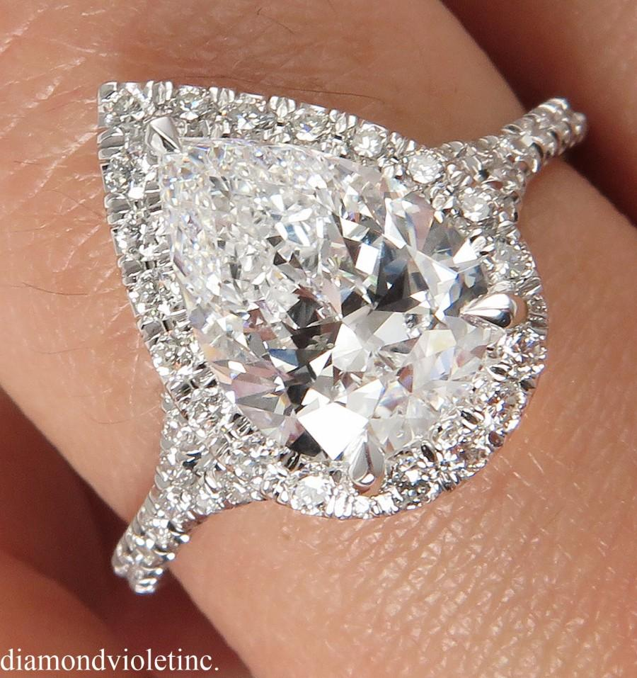Wedding - D Color! HIGHEST COLOR! GIA 2.70ct Estate Vintage Pear Diamond Halo Engagement Wedding Platinum Ring