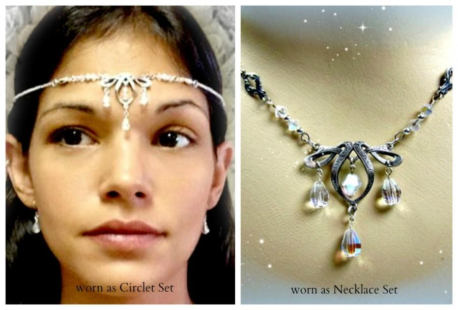 Wedding - Crystal Teardrop Fairy Circlet or Necklace Set