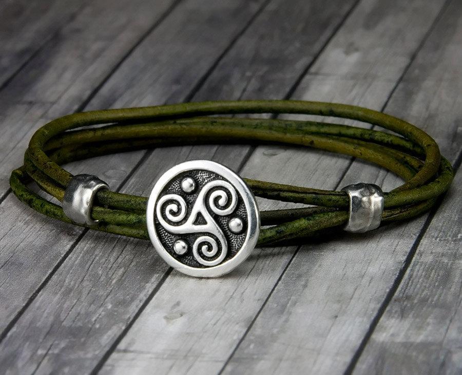 Mariage - Triskele Leather Bracelet - Handmade Leather Wrap Bracelet - Leather Bracelet - Mens Leather Bracelet - Womens Leather Bracelet - Christmas
