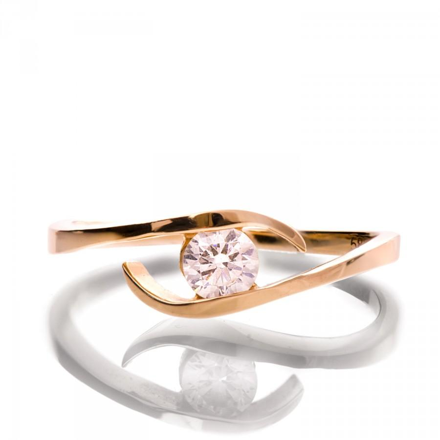 Wedding - Twist Diamond Ring, 14K Rose Gold and Diamond engagement ring, engagement ring, wedding band, crown ring, art deco, twist ring, R009