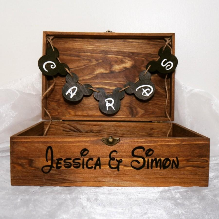 Mariage - Personalized Disney Card Box, Disney Wedding Card Box, Disney Wedding Box, Disney Wedding, Rustic Wedding, Wooden Wedding Card Box, Disney