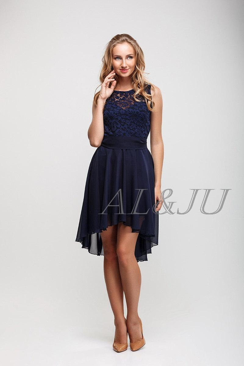 Mariage - Navy blue bridesmaids dress Lace and chiffon asymmetric dress knee length Wedding party dress.