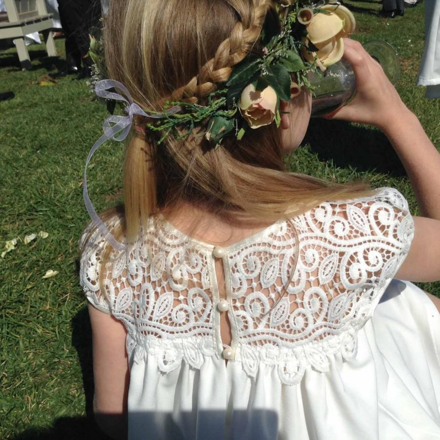 Mariage - Awesome Flower Girl Dress Pattern, Lace flower girl dress, rustic flower girl dress, wedding, country flower girl dress, capped sleeve