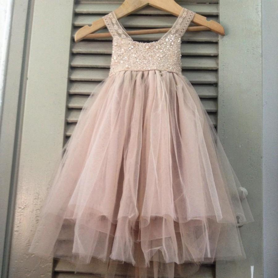 Mariage - Sparkle Magic Dusty Rose flower girl dress French lace and silk tulle dress for baby girl dusty rose princess dress beige tutu