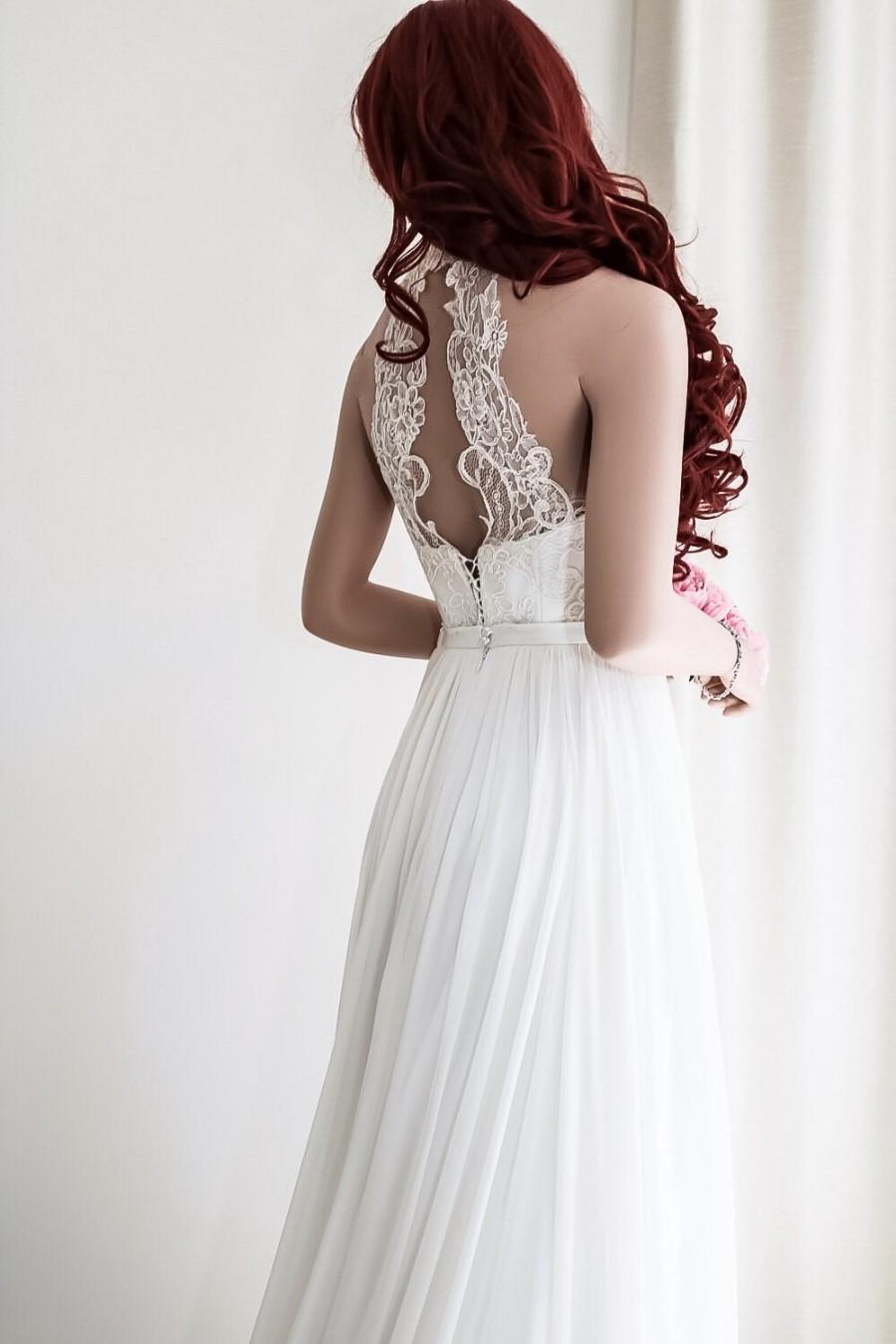 Mariage - Chiffon wedding gown/Simple wedding dress/Boho wedding dress/Beach wedding dress