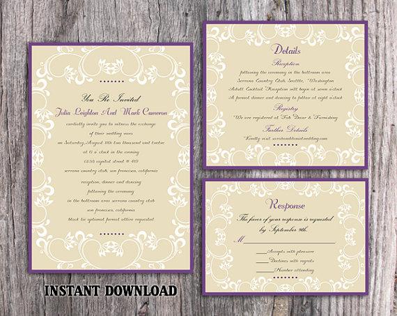 Wedding - DIY Wedding Invitation Template Set Editable Word File Download Printable Invitation Elegant White Invitations Eggplant Purple Invitation