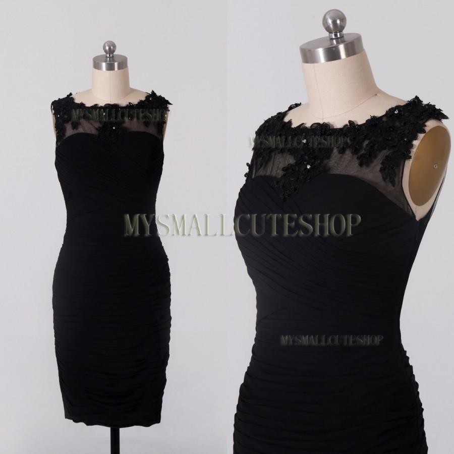 Wedding - Black prom dress,Chiffon bridesmaid dress,knee-length formal dress,Sheath party dress,Scoop neck evening dress,Lace applique women's dress