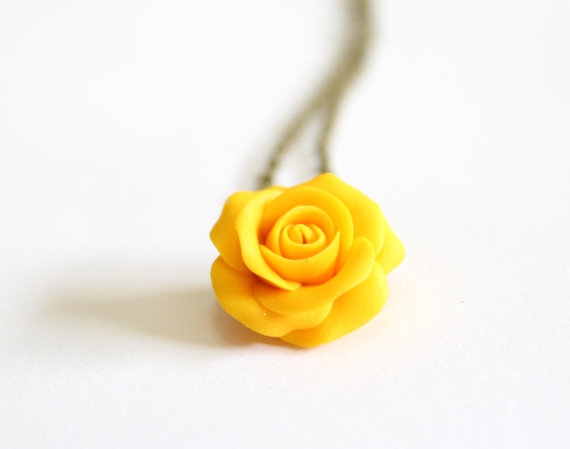 Свадьба - Yellow Rose Necklace -Yellow Pendant, Rose Charm, Love Necklace, Bridesmaid Necklace, Flower Girl Jewelry, Yellow Bridesmaid Jewelry