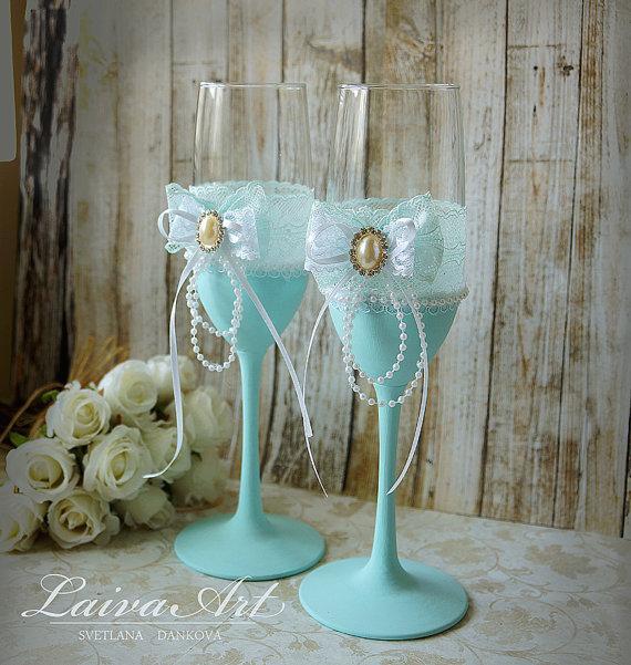 Wedding - Mint Wedding Champagne Flutes Champagne Glasses Mint Wedding Aqua Wedding Turquoise Wedding