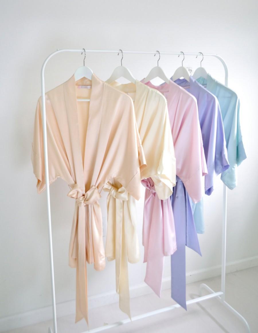 Wedding - Ready to ship - Samantha Silk bridal robe getting ready kimono in blush ivory ballet pink lavender seafoam