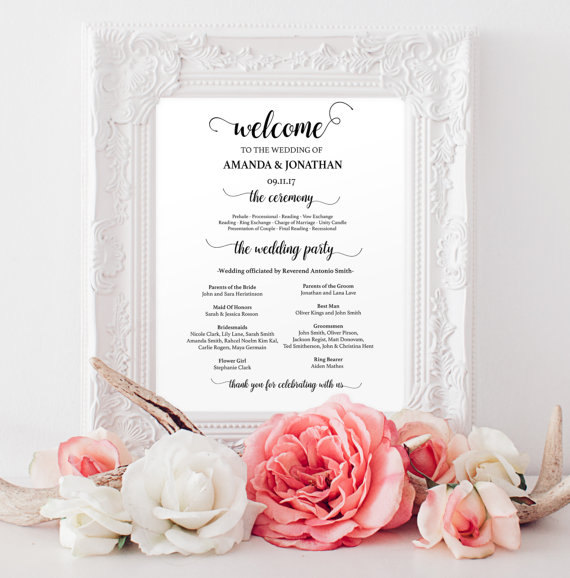 Hochzeit - Wedding programs instant download - Welcome wedding program sign printable - Wedding programs - Wedding program template download