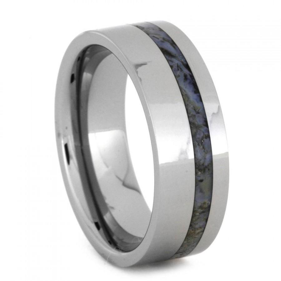 Wedding - Fossil Wedding Band For Men, Tungsten Ring with Dinosaur Bone Inlay, Signature Style