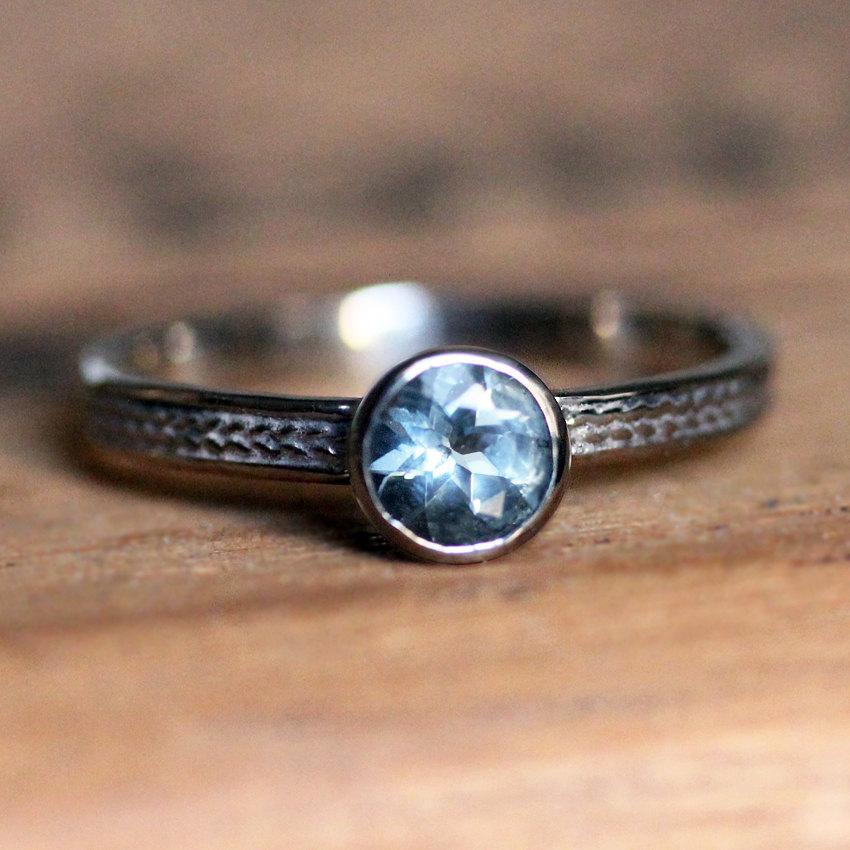 Wedding - Aquamarine engagement ring, braided engagement ring, wheat ring, March birthstone ring, bezel, 14k white gold engagement ring, custom made