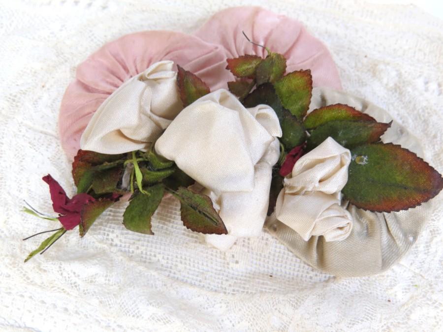 Свадьба - Antique Ivory Rayon Silk Ribbon Rosette Sew On for Bridal Headpiece, Graduation, Hats, Fashion