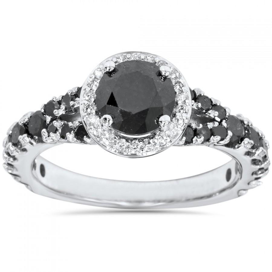 Свадьба - 1.80CT Black & White Diamond Halo Engagement Split Shank Engagement Ring 14 Kt White Gold Size 4-9