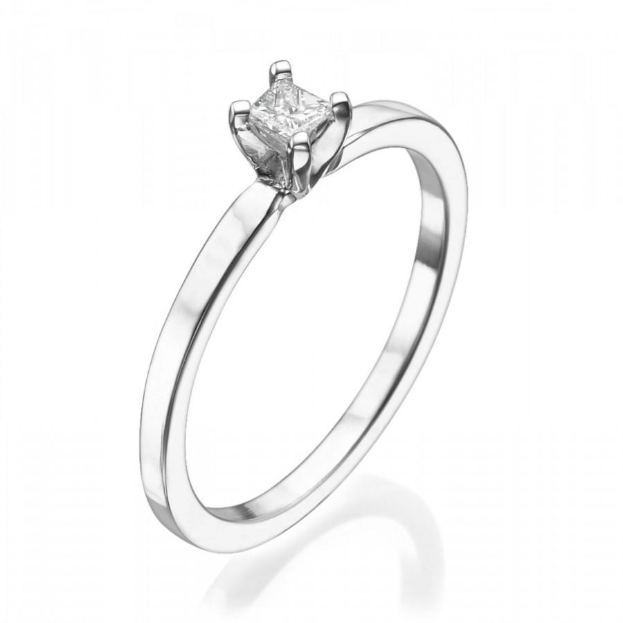 Solitaire Engagement Ring 18k White Gold Ring Princess Cut Ring