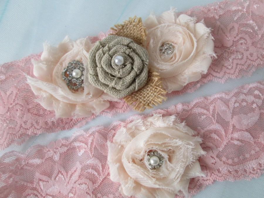 Wedding - Blush Pink Wedding Garter Set, Rustic Bridal Garters, Shabby Rose Garter, Burlap Garters, Pink Lace Garter, Vintage Country Wedding
