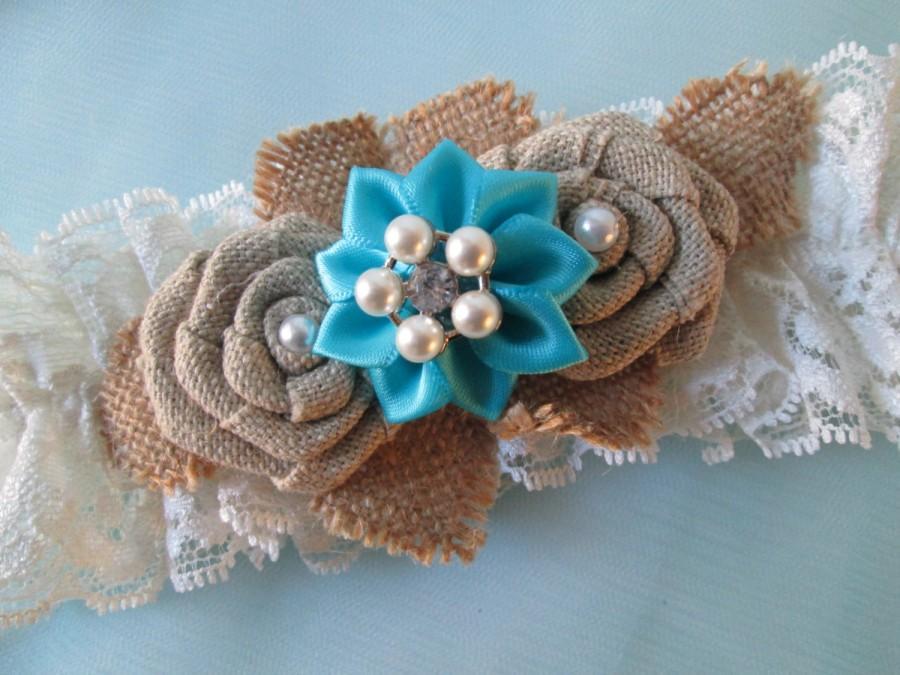 BURLAP Turquoise Wedding Garter Set Teal Bridal Garters Ivory Shabby Lace Something Blue Rustic Country Vintage