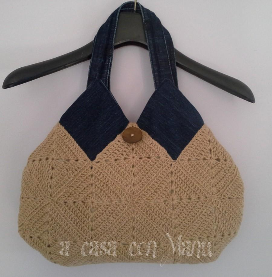 Mariage - Borsa casual ... lana e jeans, Shoulder bag, Tiles crocheted, Jeans and wool, bag, Handmade, Jeans, wool, made in Italy
