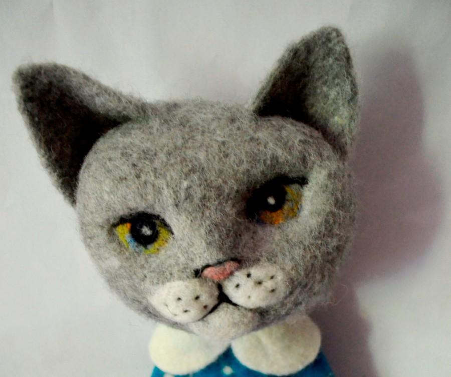"""Wedding - Kitten in a dress, 20"""", Needle felted cat, Art Dolls, Interior doll , Gift For Her, felting cat , needle felted.READY TO SHIP"""
