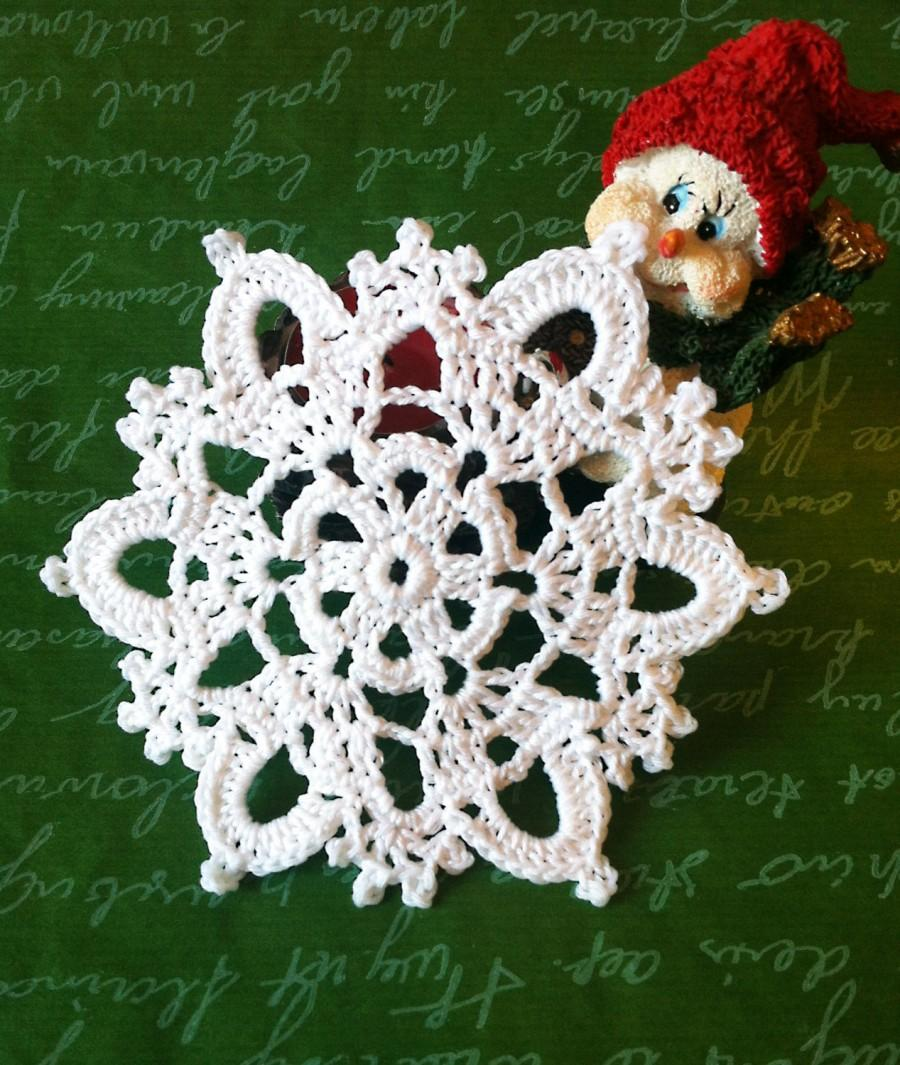 Mariage - Snowflake crochet gift Christmas girland  - perfect holyday decoration Cristmas aplique Xmas Tree ornament snovflake Winter decoration 4