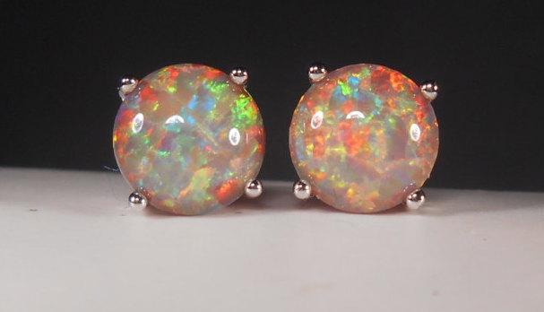 opal celebrity silver fire free sterling products classic round cut jewelry white large shipping stud earrings women