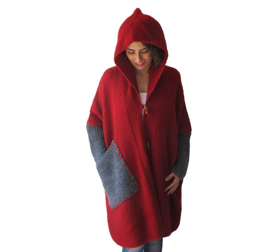 Wedding - Plus Size Over Size Red Mohair Overcoat - Poncho - Pelerine with Hood and Grey Pocket