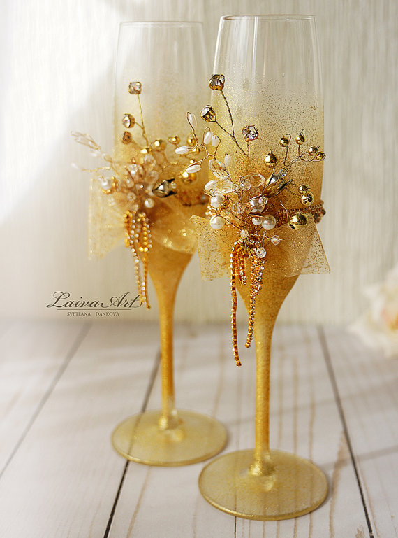 decorate champagne glasses. Gold Wedding Champagne Flutes Glasses White  Decoration