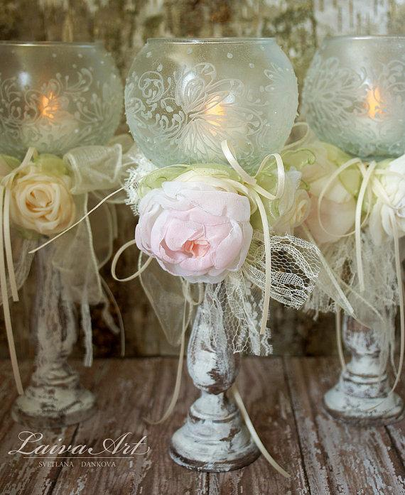 Wedding - Wedding Candle Holder Bridal Shower Decoration Ceremony Set of 3