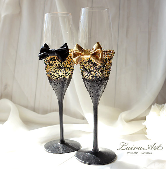 Mariage - Gold Wedding Champagne Glasses Gatsby Style Wedding Toasting Flutes Gold and Black Wedding