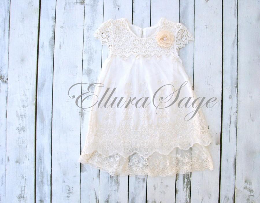 Wedding - Ivory lace dress, Baptism girl,rustic flower girl dress girls lace dress, cream lace dress,christening dress, flower girl dress, baby dress