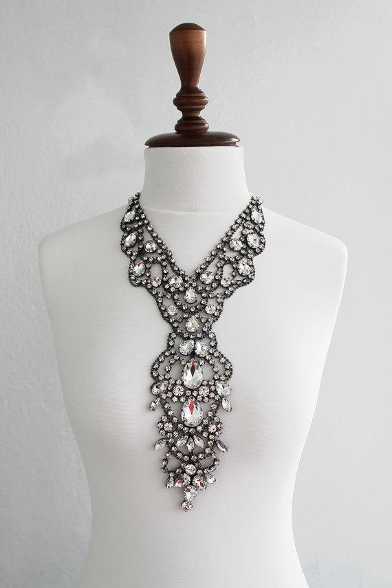 Hochzeit - Rhinestone Necklace - Wedding Statement - Statement Jewelry