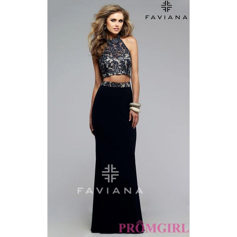 Hochzeit - Faviana Two Piece High Neck Prom Dress with Lace Top - Discount Evening Dresses