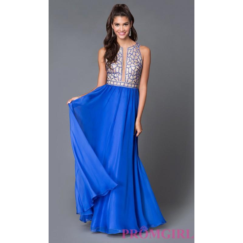 Boda - Long Sleeveless Beaded Sheer Illusion Prom Dress by Dave and Johnny - Discount Evening Dresses