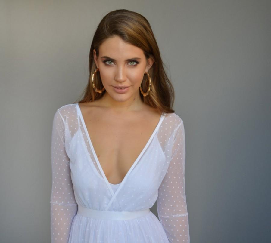 Mariage - Boho wedding dress, Dotted tulle wedding dress, long sleeves wedding dress
