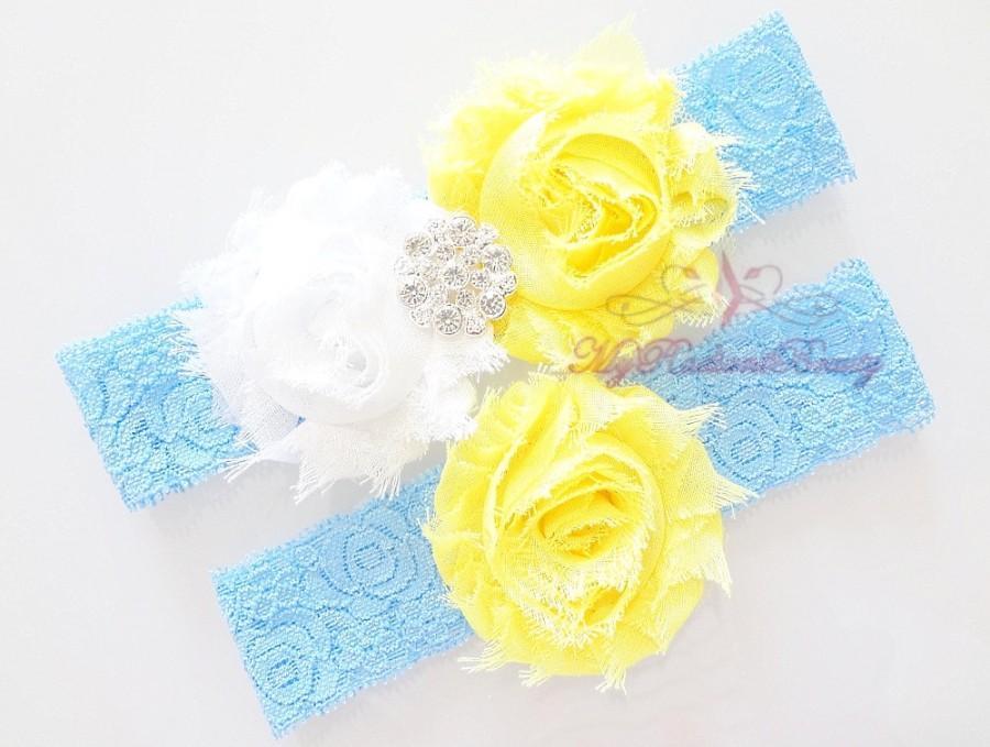 Wedding - Lace Garter, Garter, Bridal Garter, Wedding Garter, Crystal Garter, Blue Lace Yellow Flower Garter, Handmade Garter, Beaded Garter GTF0016