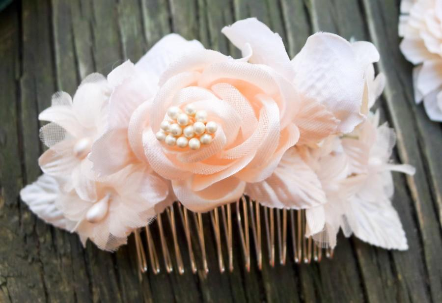 Mariage - Blush & Mint Pearl Hair Flower, Comb, Wedding, Bridal, Headpiece, Silk, Fascinator, Clip
