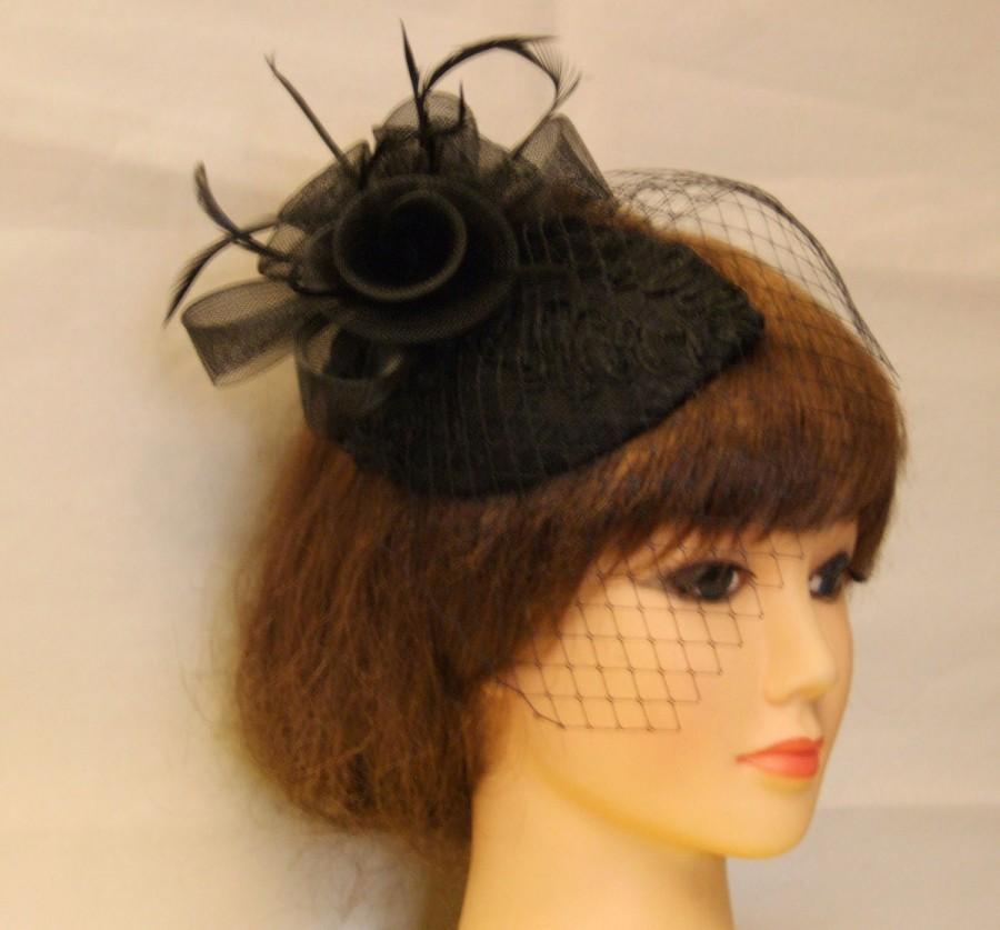 Wedding - Vintage 1940s-50s Fascinator Veil Hat Black. Tear drop hat mini birdcage veil