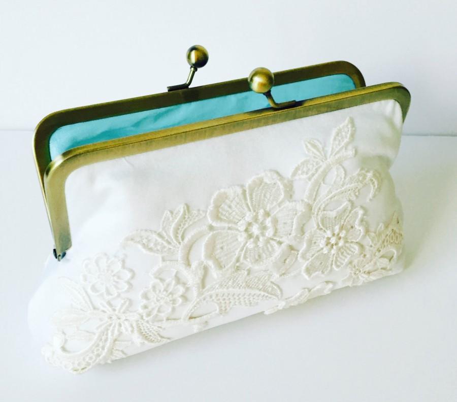 Hochzeit - CUSTOM, HEIRLOOM, REPURPOSE old wedding dress, into a bridal clutch or wedding clutch  -  Made from Moms Dress,  or Formal